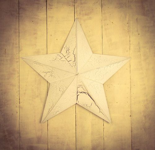"Huge Metal 22"" Crackle White Amish Barn Star"